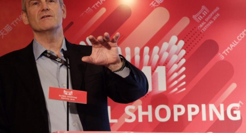 Alibaba Group President Michael Evans briefs the media on the sidelines of the 11.11 Alibaba Group Shopping Day Festival, dubbed the world's biggest shopping event, in Shenzhen on Friday. (JP/Esther Samboh/JP/Esther Samboh)