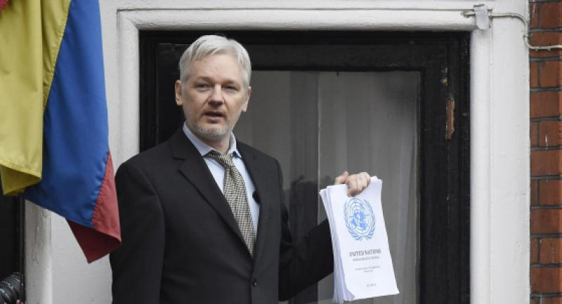 (FILE) A file picture dated 05 February 2016 shows Julian Assange speaking to the media from a balcony of the Ecuadorian Embassy in London, Britain. /EPA