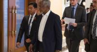 Former UN secretary general Kofi Annan (2nd L), head of a nine-member multi-sector advisory commission on Myanmar's Rakhine State, arrives for a meeting in Yangon on Wednesday. / AFP PHOTO / ROMEO GACAD