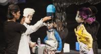 Puppeteers narrate a story on antimicrobial resistance and the ethics of research with children in B-Floor Theatre's