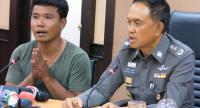Suspect Ekburut Ritrakkhapan, left, appears at a police press conference yesterday.