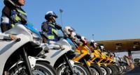 Traffic police attend yesterday