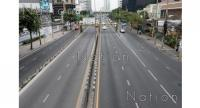 Sri Ayudhaya Road in Bangkok is almost empty on the New Year