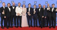 Cast and crew of 'La La Land,' winners of Best Motion Picture - Musical or Comedy, pose in the press room during the 74th Annual Golden Globe Awards at The Beverly Hilton Hotel on Sunday in Beverly Hills, California. Kevin Winter/Getty Images/AFP