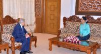 George Soros meets Suu Kyi during his visit. /Photo from Ministry of Foreign Affairs