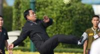 File photo: Prime Minister Gen Prayut Chan-o-cha plays sepak takraw at the Government House on February 1 at 3 pm as part of his initiative weekly exercises for government officials.
