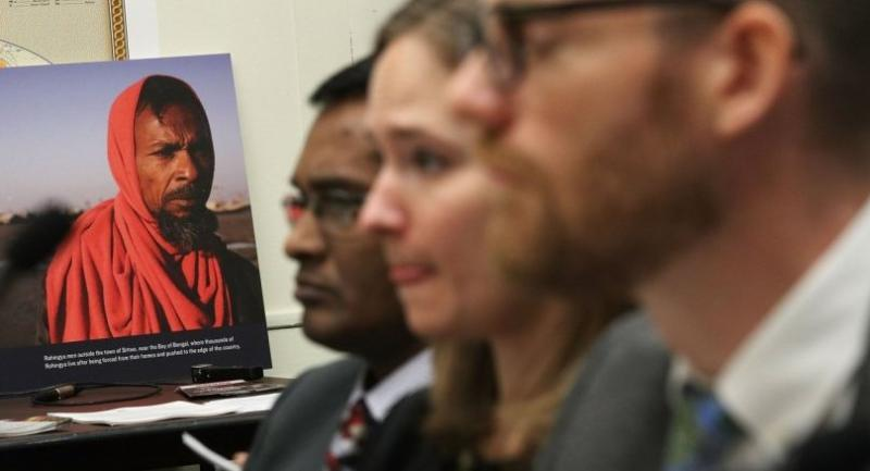 A picture of a Rohingya man is on display during a hearing before the Tom Lantos Human Rights Commission March 17, 2017 on Capitol Hill in Washington, DC. The commission held a hearing on