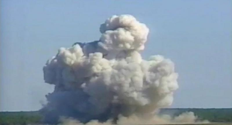 (FILES) A video grab from 2003 color file footage courtesy the US Air Force (USAF) shows a mushroom cloud created by a GBU-43/B Massive Ordnance Air Blast bomb prototype moments after impact at a test site at Eglin Air Force Base, in Florida. / AFP