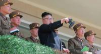 This undated picture from Korean Central News Agency on April 14, 2017 shows North Korean leader Kim Jong-Un inspecting the