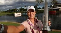 Cristie Kerr poses for selfie after winning in the final round of the LPGA LOTTE Championship.