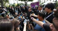 Deputy Prime Minister and Defence Minister Prawit Wongsuwan talks to media before he chairs a Cabinet meeting at the Government House on Tuesday.