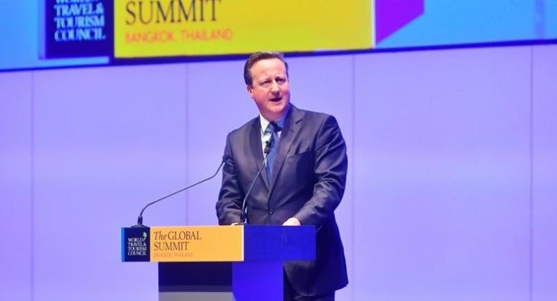 Former United Kingdom prime minister David Cameron gives a keynote speech during the World Travel and Tourism Council Summit at a Bangkok hotel.