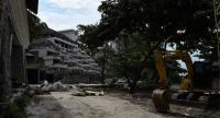 The abandoned building site, where Wuttisan Wongtalay hung his 11 month-old daughter Natalie before taking his own life whilst broadcasting live on Facebook, is seen in Phuket Thursday.  / AFP PHOTO / Lillian SUWANRUMPHA