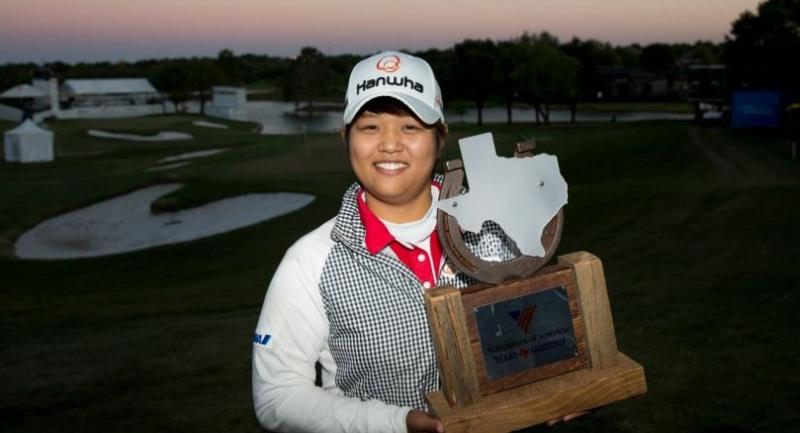 Haru Nomura of Japan poses with the champion's trophy following her playoff victory over Cristie Kerr in the final round of the Volunteers of America North Texas Shootout at Las Colinas Country Club on April 30, 2017 in Irving, Texas.