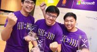 Winners of the Imagine Cup Thailand 2017, Welse, from King Mongkut's University of Technology Thonburi. From left: Phasathorn Suwansiri, Kanes Kemiganithi, and Passagorn Juntaramaha.
