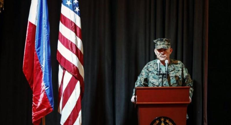 United States Marines Lieutenant General Lawrence Nicholson serves as co-director and delivers a speech during opening ceremonies for the Philippines-United States Exercise Balikatan 2017 during opening ceremonies at AFP headquarters./EPA
