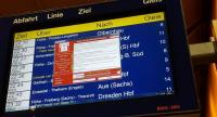 A window announcing the encryption of data including a requirement to pay appears on an electronic timetable display at the railway station in Chemnitz, eastern Germany, Friday. / AFP PHOTO / dpa / P. GOETZELT
