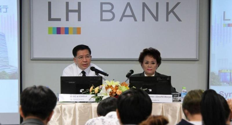 Rutt Phanijphand, left, chairman of executive director, LH Financial Group, a parent company of Land and Houses Bank (LH Bank), and Sasitorn Phongsathorn,executive director