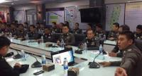 The Metropolitan Police Bureau holds a meeting with representatives from public transport operators BTS and MRT yesterday to inform them about tighter security procedures after a series of bomb attacks in Bangkok.