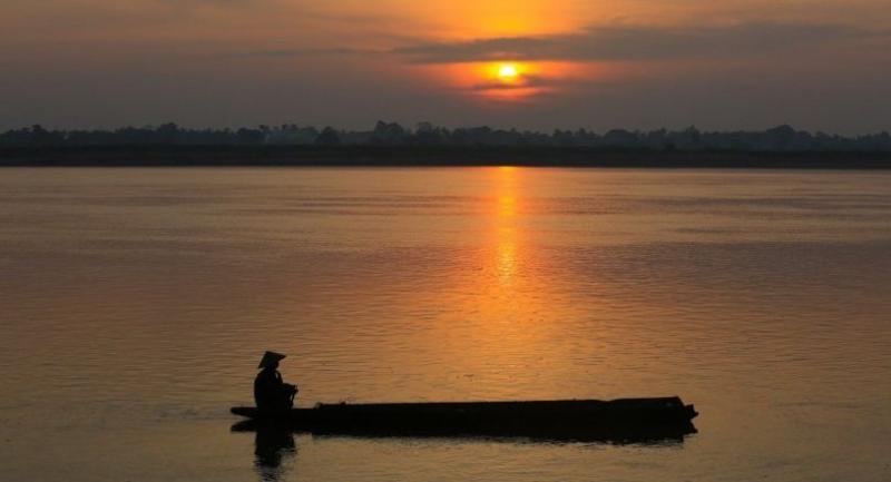 Sunrise over Mekong River in Nakhon Panom province.