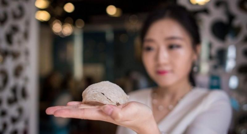 This picture taken on May 23, 2017 shows Elaine Zhang, owner of the NestCha restaurant, presenting a dried birds nest in her restaurant in Shanghai./AFP PHOTO / Johannes EISELE