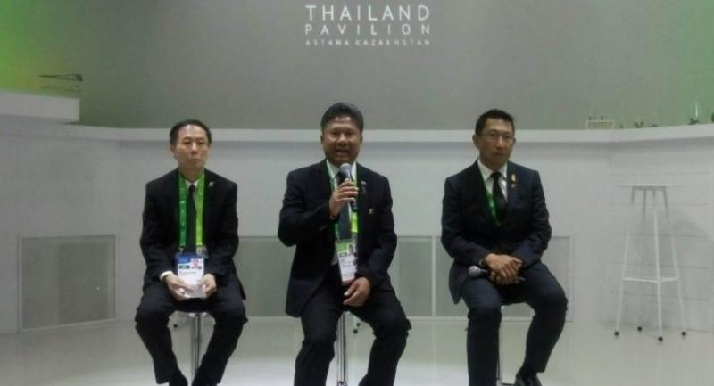 Picture shows Thailand's Vice Minister for Energy General Surasak Srisak, centre, permanent secretary of energy Areepong Bhoocha-oom, right, and the Thai Ambassador to Kazakhstan, Nat Pinyowattanacheep, left, at the media conference yesterday.