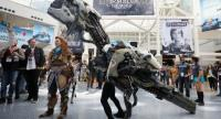 Charactors from 'Horizon Zero Dawn' interact with attendees during the Electronic Entertainment Expo E3 at the Los Angeles Convention Center on June 13, 2017 in Los Angeles, California. Christian Petersen/Getty Images/AFP