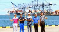 Natipong, Rattanon, Pavit, Poom and Danthai in a photocol at Laemchabang Habour.