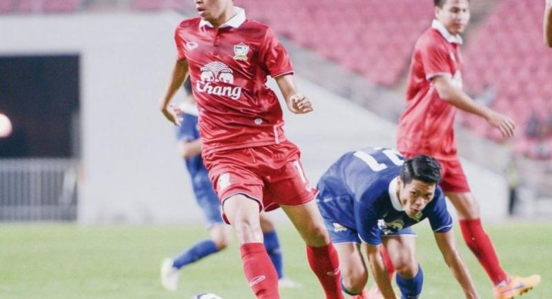 Thanaboon Kesarat,  left, is a defensive midfielder  for the national team. Thanaboon became the highest-paid athlete in the Thai sports industry when Muangthong United FC sold him to Chiang Rai United FC for Bt50 million.