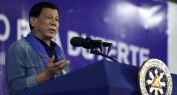Philippine President Rodrigo Duterte delivering a speech before local officials in the town of Hagonoy, Davao del Sur province, on the southern Philippine island of Mindanao. // AFP PHOTO