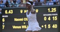 US player Venus Williams reacts after winning against Japan's Naomi Osaka