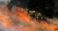 Marin County Fire Department seasonal-hire firefighters use a hose during a controlled burn training on June 16, 2017 in San Rafael, California. /AFP