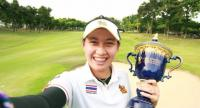 Atthaya Thitikul shows off the Thailand Championship trophy after her two-stroke victory.