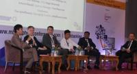 From left: Ronald Lee, Allen Gilstrap, Arturo Planell, Zayar Aung, Kyaw Hlaing Win and Tim Scheffmann at the Myanmar Banking and Payments Conference.