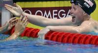 US Lilly King reacts after competing in the women's 100m breaststroke final during the swimming competition at the 2017 FINA World Championships in Budapest, on July 25, 2017. / AFP
