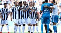 JULY 30: Carlo Pinsoglio #16 celebrates with teammates after Juventus defeat Roma 6-5 in penalty kicks during the International Champions Cup 2017 match at Gillette Stadium on July 30, 2017 in Foxboro.