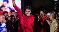Venezuelan president Nicolas Maduro celebrates the results of