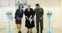 TIB deputy commissioner Pornchai Kuntee, right, Canadian Ambassador Donica Pottie, centre, and IOM Thailand chief of mission Dana Graber Ladek cut a ribbon to mark the handover. Photo: Reuben Lim / IOM 2017