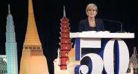 Australian Foreign Minister Julie Bishop speaks during the special lecture series of the 50th Anniversary of Association of Southeast Asian Nations (ASEAN) at the Ministry of Foreign Affairs in Bangkok yesterday.