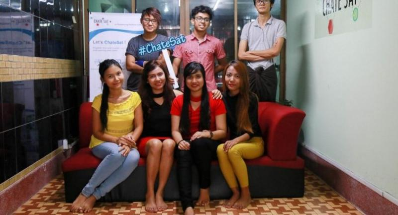The Chate Sat team at their office in Yangon.