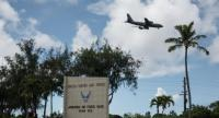 This general view shows the entrance to Andersen air force base in the town of Yigo on Guam island on August 15, 2017. // AFP PHOTO