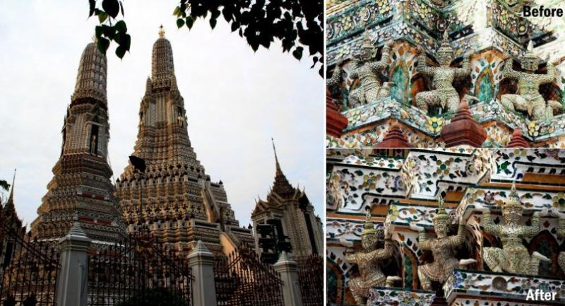 The online community is rife with comments critical of the renovations of Wat Arun's stupas. Many people believe the work failed to preserve the original patterns and antique materials.