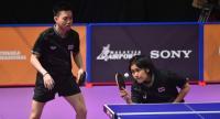 Thailand's  Padasak Tanviriyavechakul and Suthasini Sawettabut  in action yesterday.