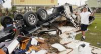 Richard Garner sorts through the wreckage of his home in the aftermath of Hurricane Harvey in Rockport, Texas, USA, 28 August 2017.  // EPA PHOTO