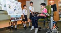 """Thai students demonstrate how to use their invention, the so-called """"Smart Wheelchair"""", at the 2017 Korea International Youth Olympiad 41 in South Korea last month. The innovation won a gold medal at the event."""