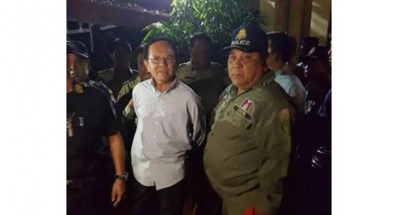 Cambodian opposition leader Kem Sokha is arrested on charges of treason in Phnom Penh on Sunday.