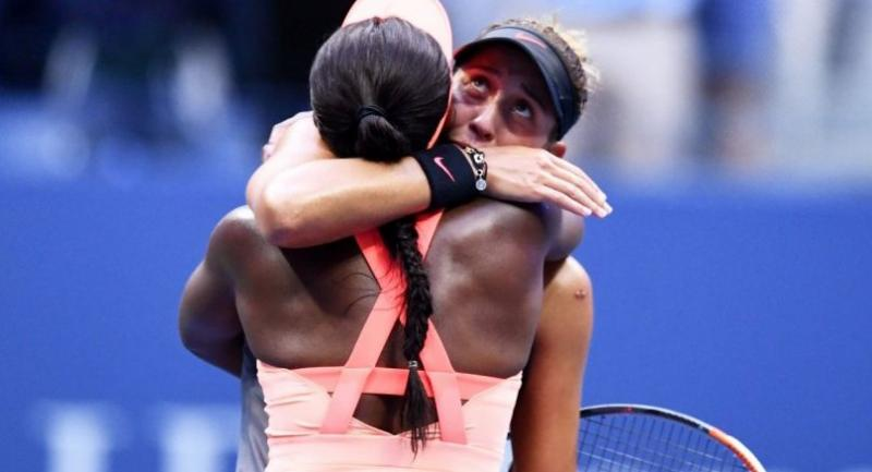 Sloane Stephens (L) of the US embraces compatriot Madison Keys after winning during their 2017 US Open Women's Singles final match.