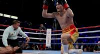 Srisaket Sor Rungvisai of Thailand celebrates as Roman Gonzalez of Nicaragua is counted out at StubHub Center on September 9, 2017 in Carson, California. Jeff Gross/Getty Images/AFP / AFP PHOTO.