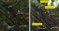 These satellite images courtesy of http://www.planet.com, with analysis and annotations by Amnesty International, show the area of Inn Din (Aan Daang), Myanmar, on August 27, 2017, (L) and on September 11, 2017, (R)./AFP