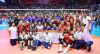 The Thailand and South Korea teams after their match.